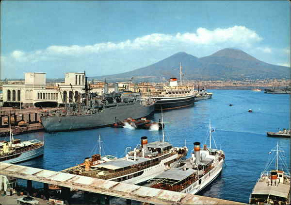 Naples- The Harbour and Vesuvius Italy