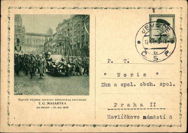The famous arrival of the first president of the republic, T.G. Masaryk Prague CENTRAL BOHEMIA Czech Republic