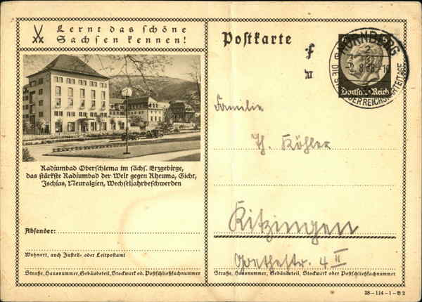 Nazi-Era Postal Card - Radiumbad Oberschlema Bad Schlema Germany