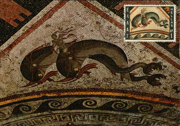 Eros-Hermes Mosaic from the House of Dolphins Delos Greece