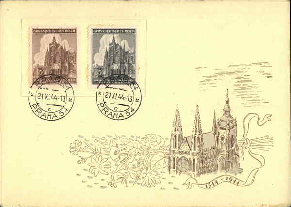 A drawing of St. Vitus Cathedral in Prague Czech Republic