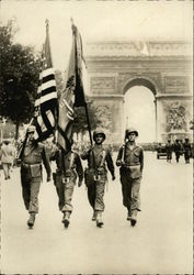 Liberation of Paris - American Flags at the Military Parade