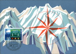 Painting of snow-capped mountains, compass, stamp from Helevetia Switzerland Postcard