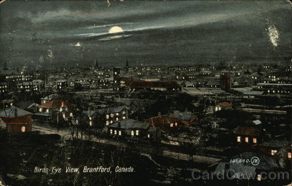 Bird's Eye View of Town Brantford Canada Ontario