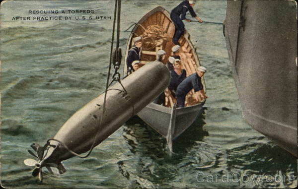 Rescuing a Torpedo After Practice by USS Utah Battleships