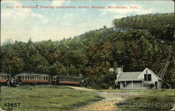 Base of Mountain showing Uncanoonuc Incline Railway Manchester New Hampshire