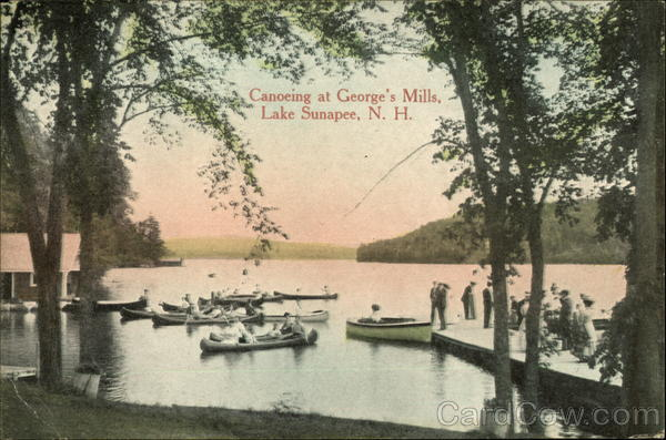 Canoeing at George's Mills Lake Sunapee New Hampshire