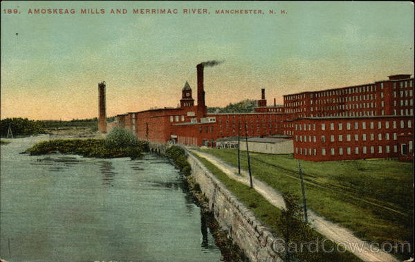 Amoskeag Mills and Merrimac River Manchester New Hampshire