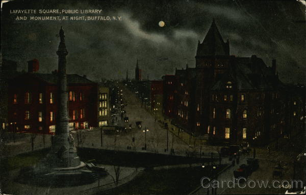 Lafayette Square, Public Library and Monument at Night Buffalo New York
