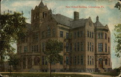 New School Building Postcard