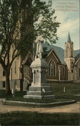 Soldiers Monument and Methodist Church Postcard