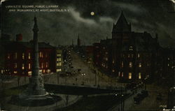 Lafayette Square, Public Library and Monument at Night Postcard