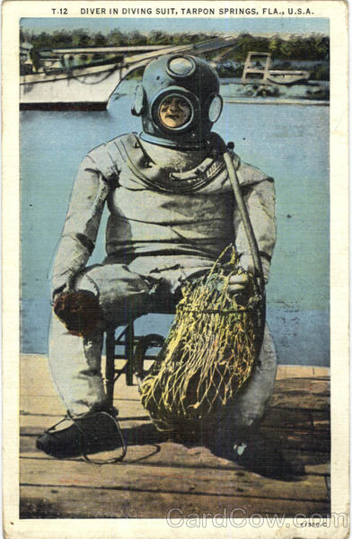 Diver In Diving Suite Tarpon Springs Florida Divers