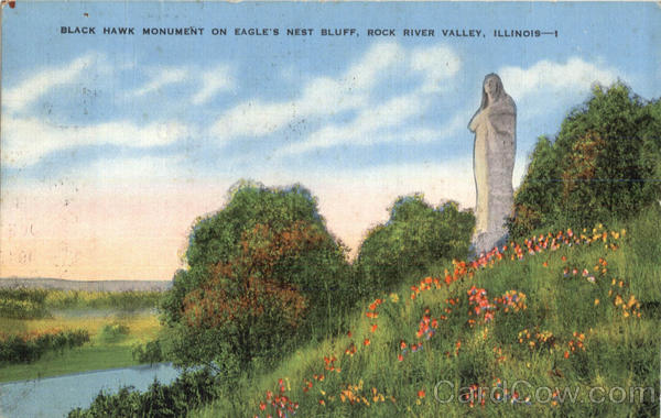 Black Hawk Monument On Eagle's Nest Bluff Rock River Valley Illinois