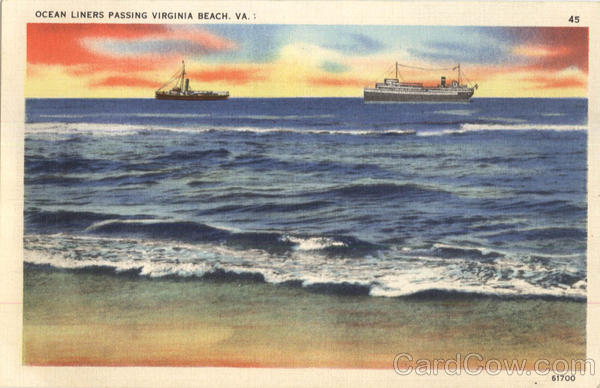 Ocean Liners Passing Virginia Beach