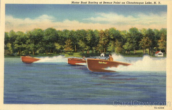 Motor Boat Racing At Bemus Point Chautauqua Lake New York