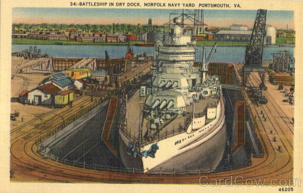 Battleship In Dry Dock Norfolk Virginia