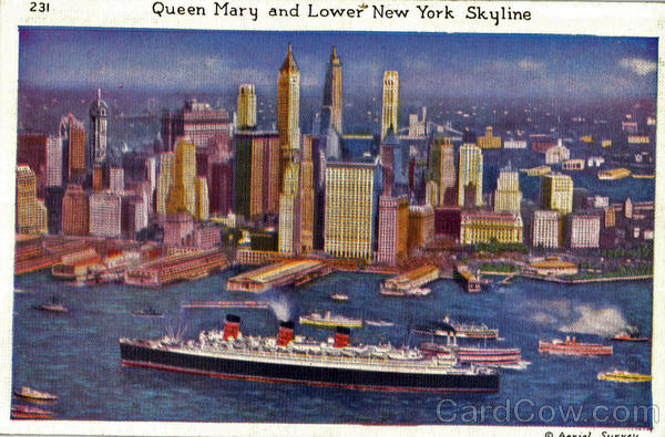 Queen Mary And Lower New York Skyline Boats, Ships