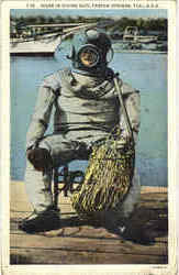 Diver In Diving Suite Postcard