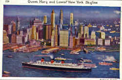Queen Mary And Lower New York Skyline