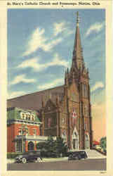St. Mary's Catholic Church And Parsonage Postcard
