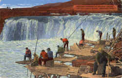 Indians Fishing At Celilio Falls Of Columbia River