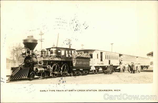 Early Type Train at Smith Creek Station Dearborn Michigan