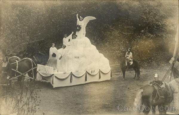 K of P Float, Columbus Day Parade, 1912 Vermont Events