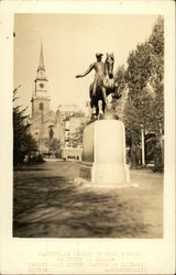 Old North Church and Paul Revere Equestrian Statue Postcard