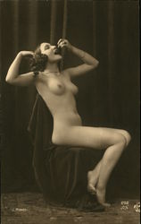 Portrait of Nude Lady Eating Grapes Postcard
