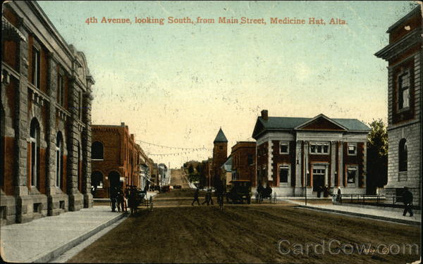 4th Avenue Looking South From Main Street Medicine Hat AB Canada