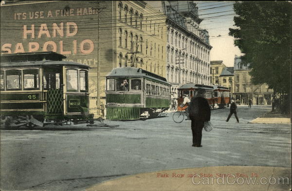 Park Row and State Street Erie Pennsylvania Trolleys & Streetcars