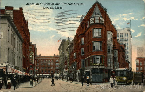 Junction of Central and Prescott Streets Lowell Massachusetts