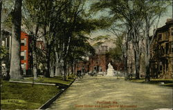 State Street and Longfellow Monument Postcard