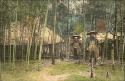 Natives Standing Among Bamboo Trees