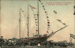 Launching of Schooner at Stonington Shipyard