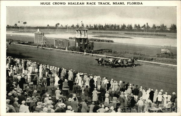 Crowd at Hialeah Race Track Miami Florida Horse Racing