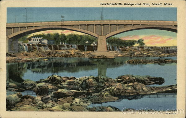 Pawtucketville Bridge and Dam Lowell Massachusetts