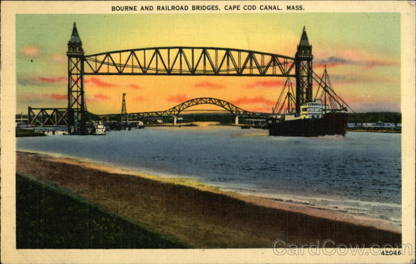Bourne and Railroad Bridges, Cape Cod Canal, Mass Massachusetts