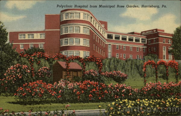 Polyclinic Hospital from Municipal Rose Garden Harrisburg Pennsylvania