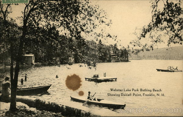 Webster Lake Park Bathing Beach, showing Daniell Point Franklin New Hampshire