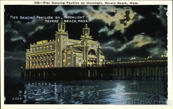 Pier Dancing Pavilion by Moonlight Revere Beach Massachusetts