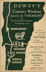 Dewey's Country Woolens Made In Vermont by A.G. Dewey Mills Established 1836