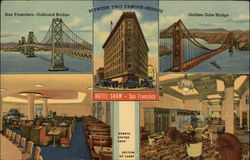 Hotel Shaw, and Oakland and Golden Gate Bridges