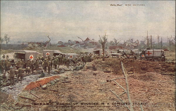 Picking up Wounded in a Captured Village World War I