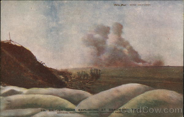 British Mine Exploding at Beaumont Hamel World War I