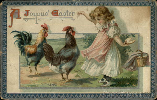 A Joyous Easter - Girl with Two Roosters With Children