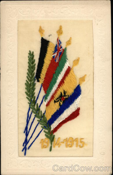 1914-1915 WWI Flags Embroidered Silk Patriotic