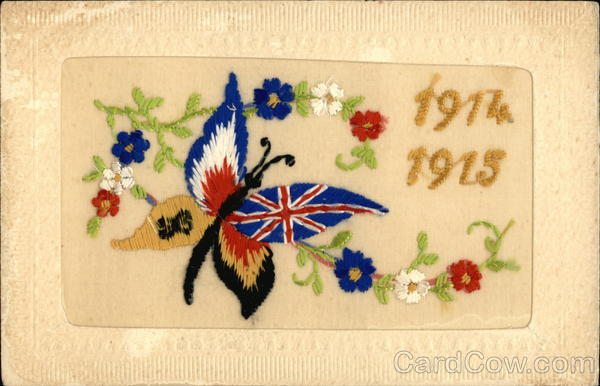1914-1915 Embroidered Butterfly with American and British Markings