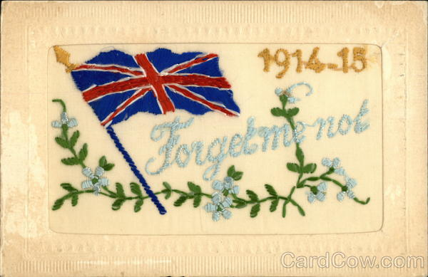 1914-15 Forget me not World War I Embroidered Silk